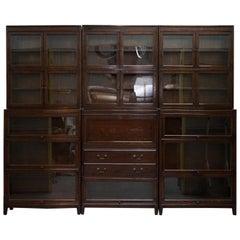 3 Rare 1920s Gunn Library Stacking Bookcases & Desk Bureau Minty Globe Wernicke