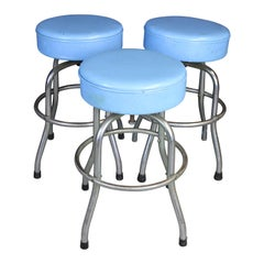 3 Retro Blue Leather Chrome Industrial Swivel Bar Diner Soda Fountain Stools