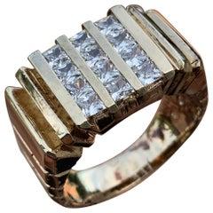 3 Row Men's/Ladies Princess Diamond Ring, 1.44 CTW, 10K, 1980s Ben Dannie Design