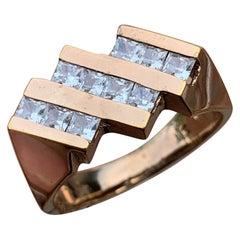 3-Row Mens / Ladies Princess Diamond Ring,1.20 CTW, 10K, 1980s Ben Dannie Design