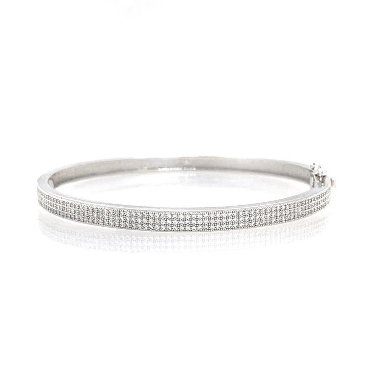 3-row Micropave Simulated Diamond Sterling Silver Bangle Bracelet In New Condition For Sale In Los Angeles, CA