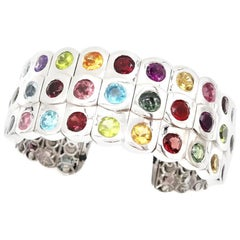 3-Row Multi-Color Semi Precious Gemstone 18 Karat White Gold Open Bangle Cuff