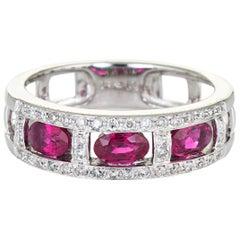 3 Ruby Diamond Band 14 Karat White Gold Estate Fine Jewelry Vintage Jewelry