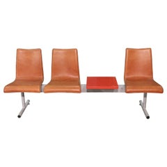 3-Seat Bench with Metal Table, 20th Century