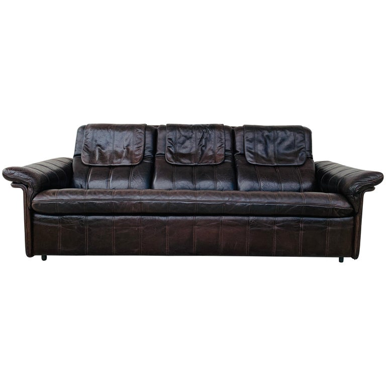 3-Seat Leather Sofa by De Sede, Switzerland For Sale