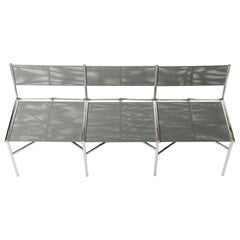 3-Seat Meeting Bench in Gray Metal by Laurence Humier