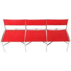 3-Seat Meeting Bench in Red Metal by Laurence Humier