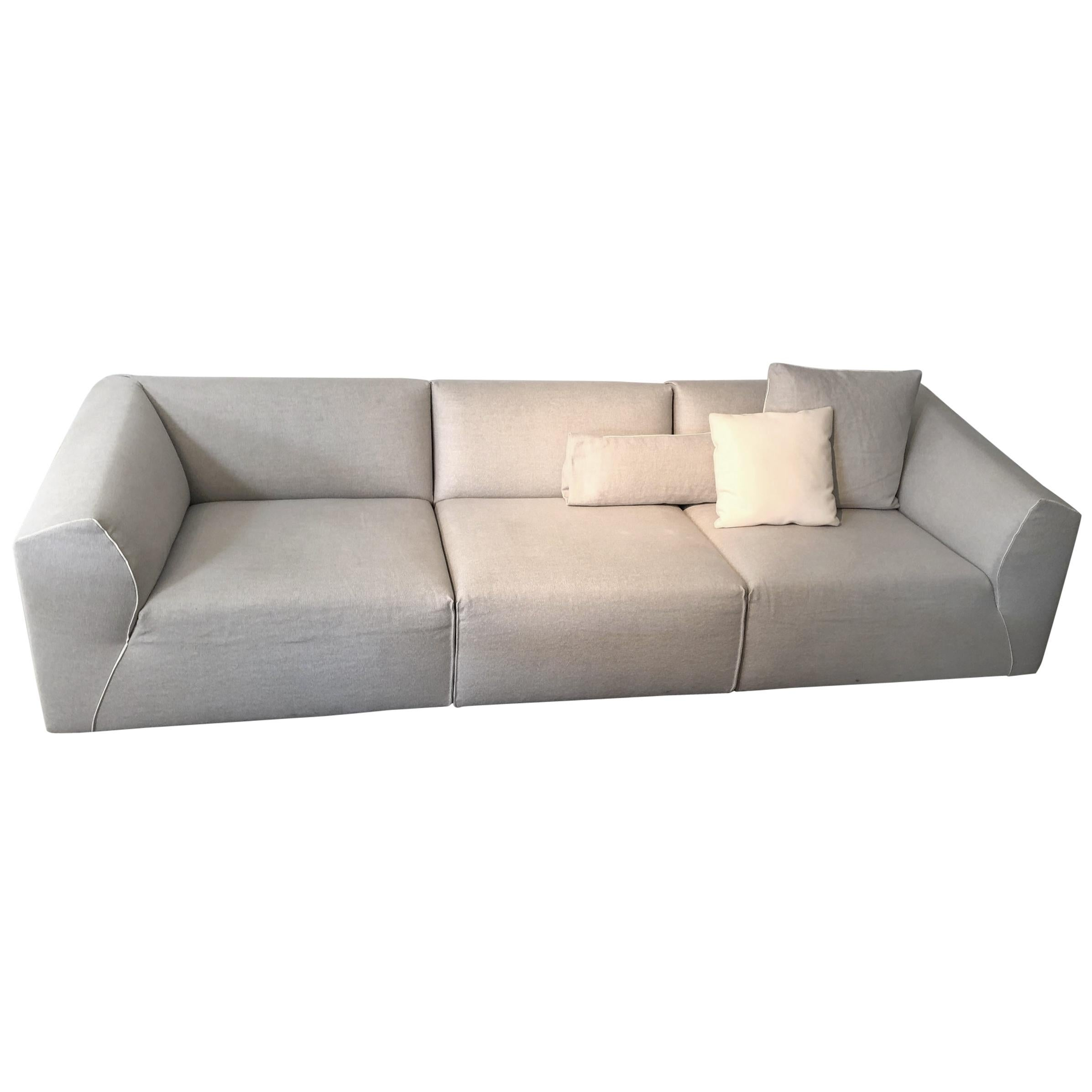 3 Seat Modular Sofa Couch And Ottoman Light Grey And White Piping By MDF  Italia