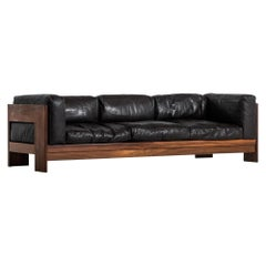 3-Seat Sofa in the Manner of Tobia Scarpa in Rosewood and Leather
