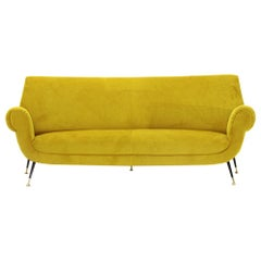 3-Seat Sofa in Yellow Ocher Velvet, 1960s