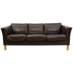 3-Seat Black Leather Sofa by Mogens Hansen, circa 1970s