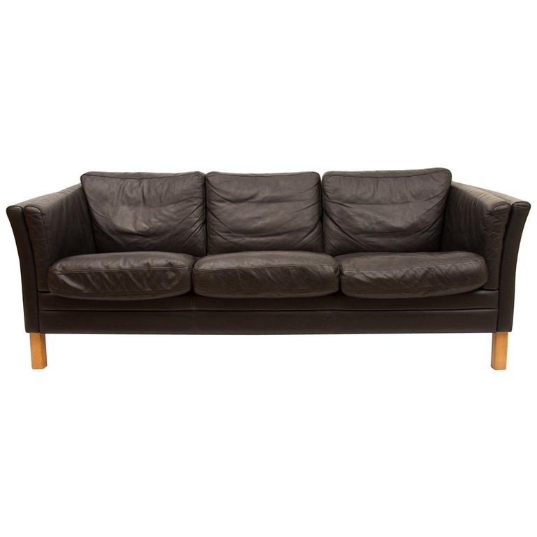 3-Seat Black Leather Sofa by Mogens Hansen, circa 1970s For Sale at ...