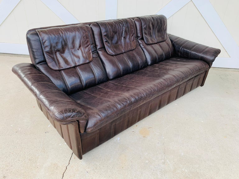 3-Seat Leather Sofa by De Sede, Switzerland For Sale 6