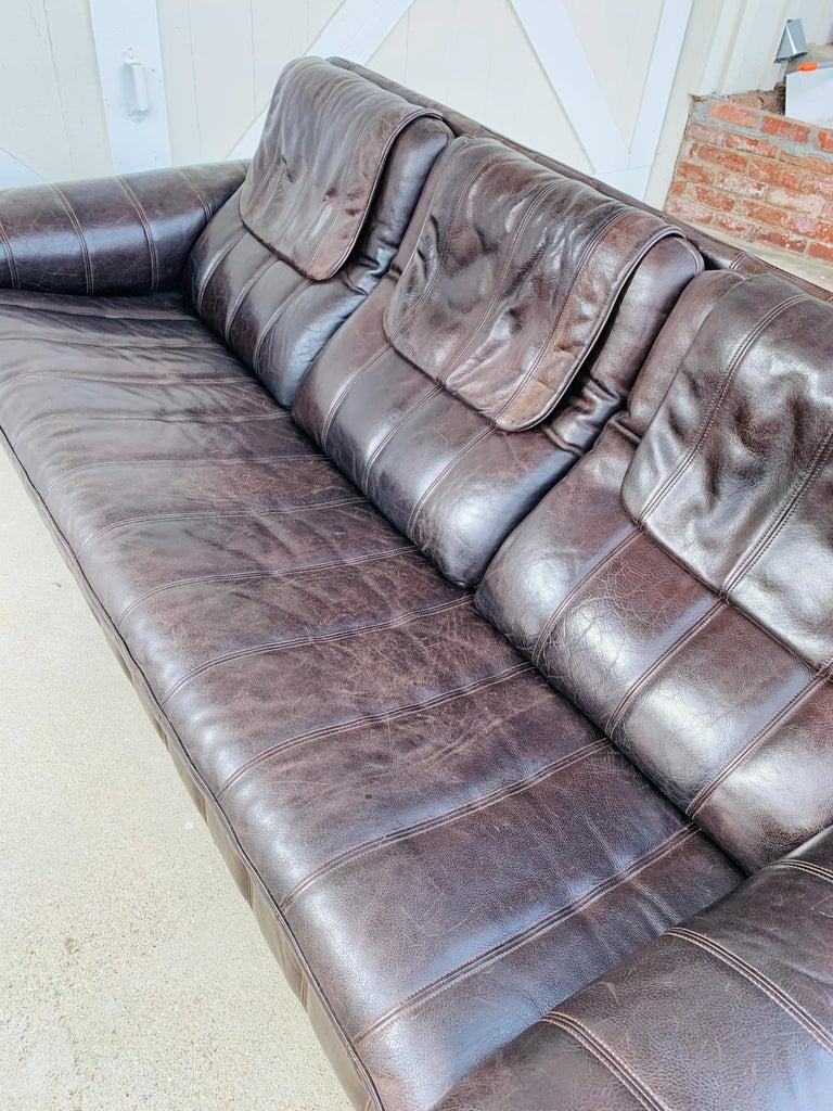 Swiss 3-Seat Leather Sofa by De Sede, Switzerland For Sale