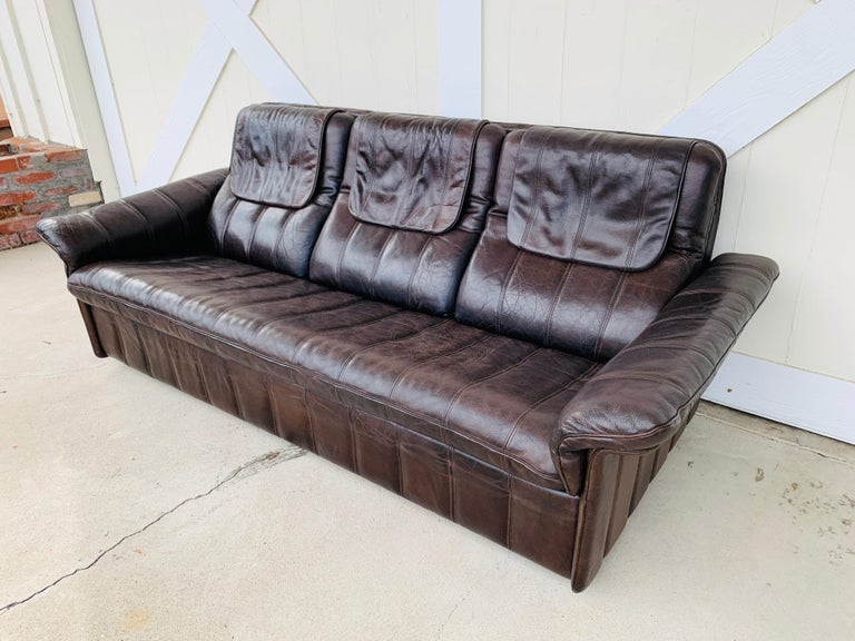 3-Seat Leather Sofa by De Sede, Switzerland In Good Condition For Sale In Los Angeles, CA