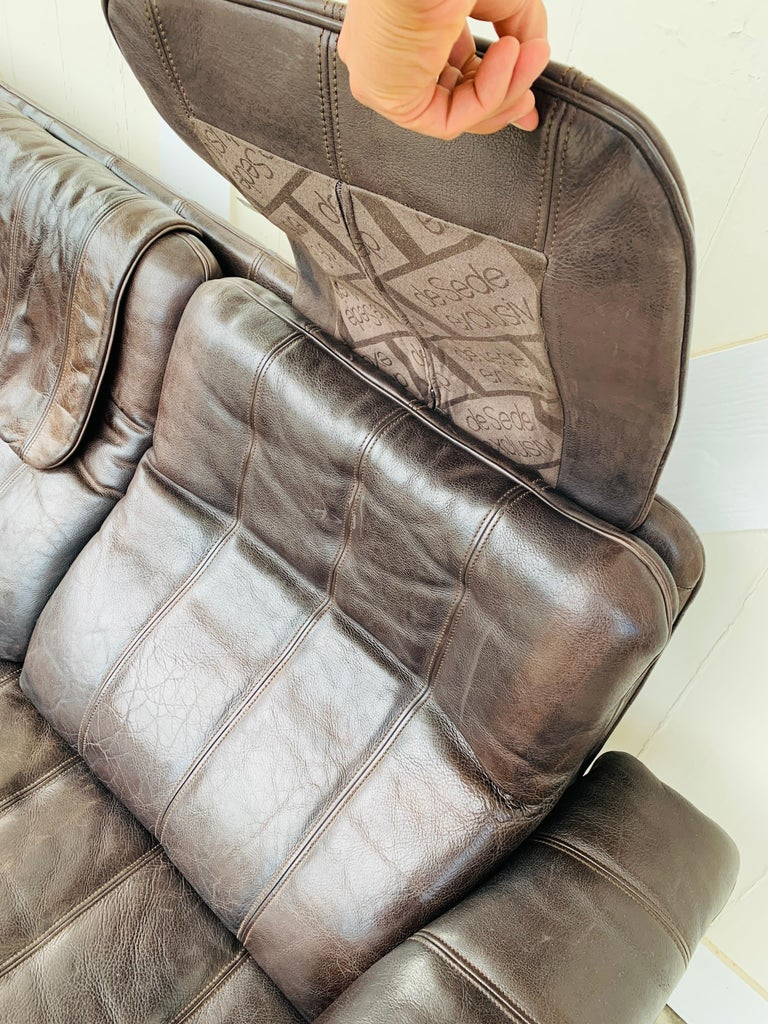 3-Seat Leather Sofa by De Sede, Switzerland For Sale 2