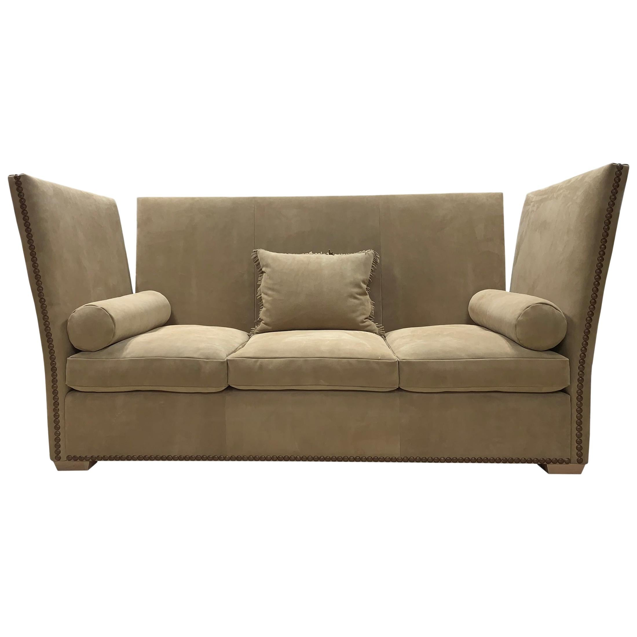 3-Seat Sofa in the Knole Style Upholstered in Brown Suede