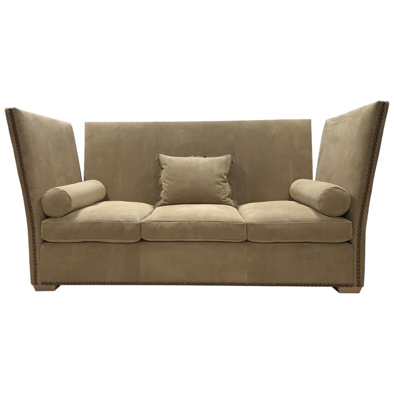 Knole Style Upholstered In Brown Suede