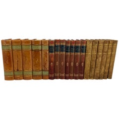 3 Sets of Swedish Vintage Leather Backed Books, Early 20th Century