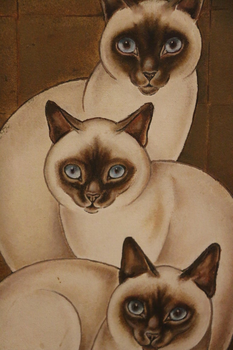 Beautiful painting of 3 Siamese cats by Jacques Nam, famous for his paintings of cats. Oil on panel (plywood). Art Deco. 1930's Dimensions: without frame: 46cmx33cm; with frame : 61.5cmx48.5cm.