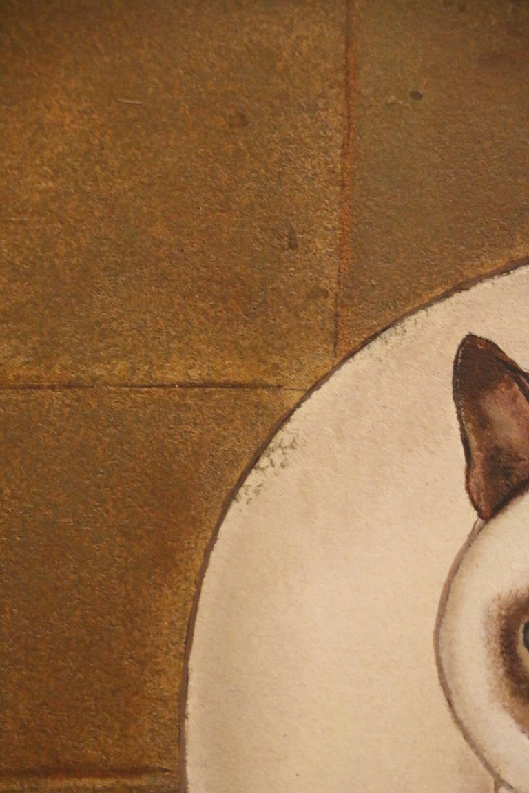 French 3 Siamese Cats, Oil on Panel by Jacques Nam, France, Art Deco, 1930's For Sale