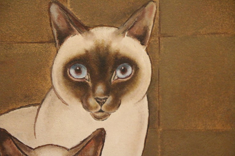 3 Siamese Cats, Oil on Panel by Jacques Nam, France, Art Deco, 1930's In Good Condition For Sale In Paris, FR