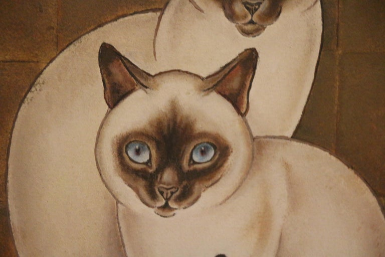 Mid-20th Century 3 Siamese Cats, Oil on Panel by Jacques Nam, France, Art Deco, 1930's For Sale