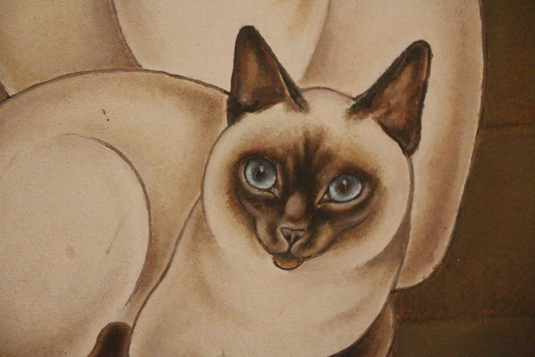 Plywood 3 Siamese Cats, Oil on Panel by Jacques Nam, France, Art Deco, 1930's For Sale