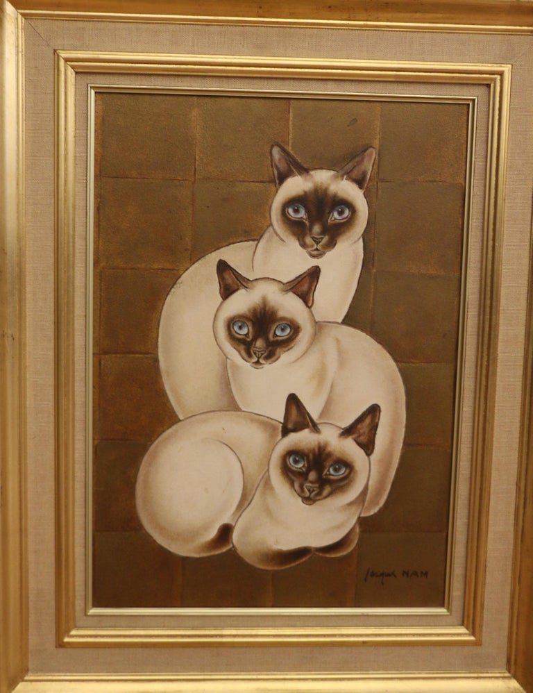 3 Siamese Cats, Oil on Panel by Jacques Nam, France, Art Deco, 1930's For Sale 1