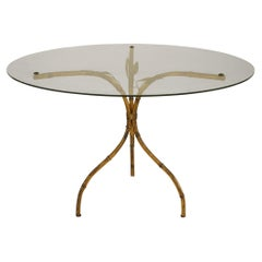 3 Similar Faux Bamboo Gilt Metal and Glass Coffee Tables