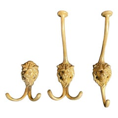 3 Solid Brass Coat / Hat Hooks with Loins Head, France, 1973