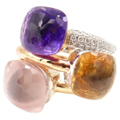 3 Stackable Solitaire Gold Rings Special Faceted Rose Quartz, Citrine & Amethyst