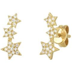 3 Star Earring Diamond Studs Yellow Gold, Ben Dannie