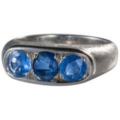 3 Stone 1.3 Carat Total Sapphire Ring, 14 Karat Gold