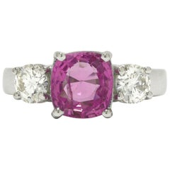 3-Stone Antique Pink Sapphire Engagement Ring 2.72 Carat GIA Certified 2 Diamond