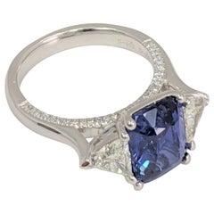 GIA Certified 3-Stone Emerald Cut  Sapphire White Diamond Platinum Ring