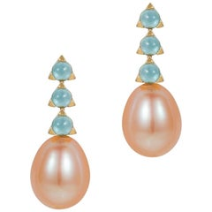 3-Stone Baroque Pink Pearl Earrings, Swiss Blue Topaz, 18 Karat Yellow Gold
