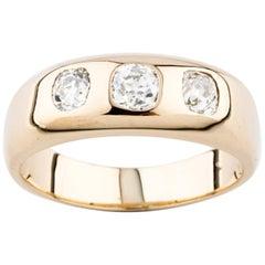 3-Stone Diamond 1.00 Carat 14 Karat Yellow Gold Men's Wedding Ring