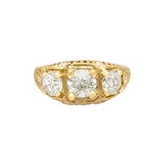 3-Stone Diamond & 18k Gold Ring