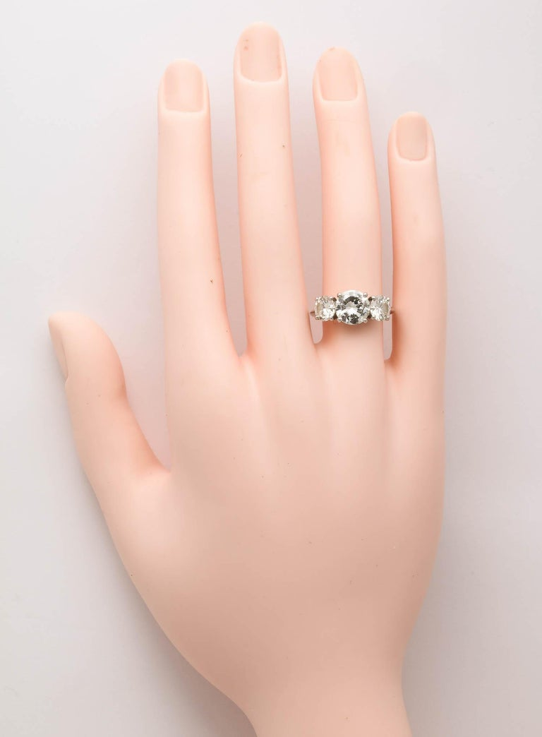 8a5c60e3d 3-Stone Diamond and Platinum Engagement Ring Tiffany Setting 4.4 Plus Carats  For Sale 2