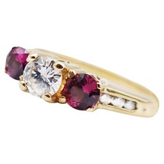 3-Stone Diamond and Ruby Ring 1.05 Carat Past and Present VS Quality Yellow Gold