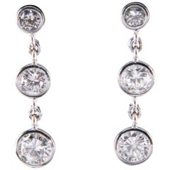3-Stone Diamond Bezel Set 1.80 Carat 14 Karat White Gold Drop Dangle Earrings