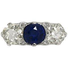 3-Stone Diamond Blue Sapphire 6.13 Carat Certified Trinity Engagement Ring 1920s