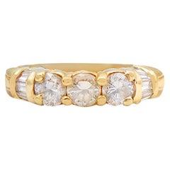 3 Stone Diamond Engagement Band Ring 1.50 Carat 14 Karat Yellow Gold