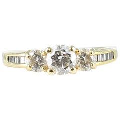 3-Stone Diamond Engagement Ring in 14 Karat Yellow Gold