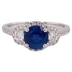3 Stone, Diamond Ring, Sapphire and Diamond Halo Ring 1.95 Carat