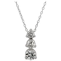 3-Stone Drop Pendant Style Diamond Necklace