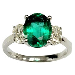 3-Stone Emerald Oval Cut & Diamond Ring