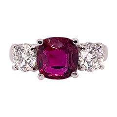 3-Stone GIA Certified Unheated Ruby Diamond Ring
