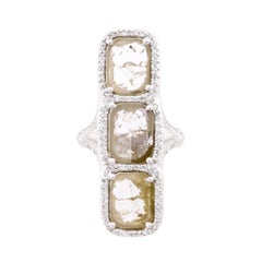 3 Stone Gray Diamond Slice Ring with Diamond Pave Halo in 18k White Gold